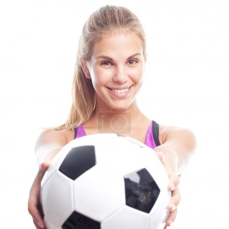 young cool woman offering football ball