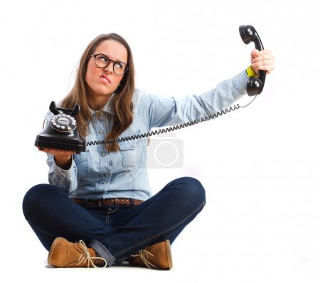 angry young woman with a phone