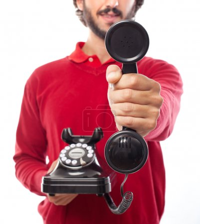 man offering a phone