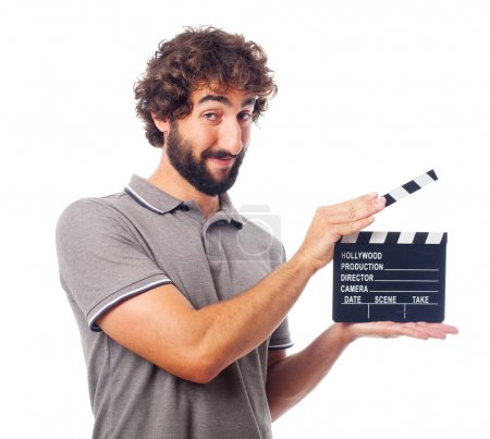 young crazy man with a clapperboard