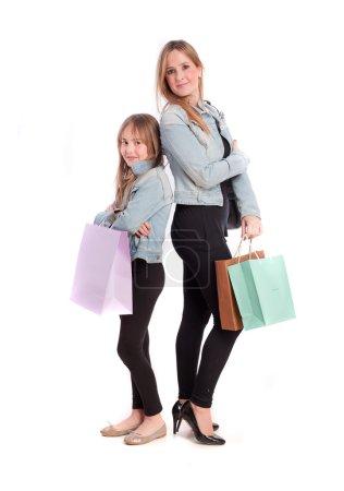 Photo pour Shopping mère et fille - image libre de droit