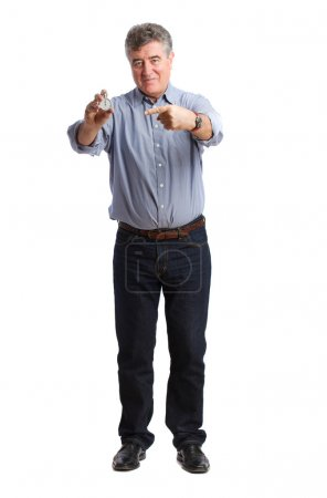 Adult man holding a timer