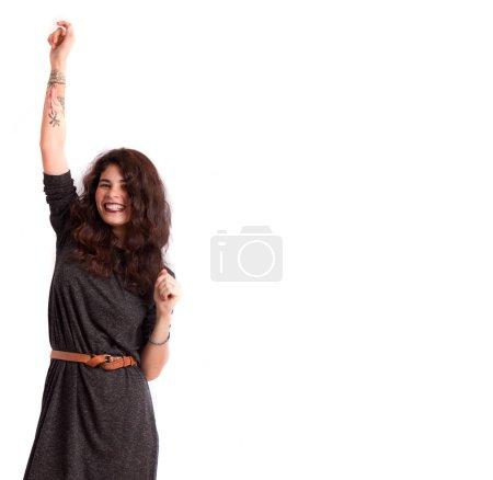 Happy girl celebrating
