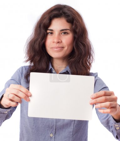 Satisfied girl holding a name card