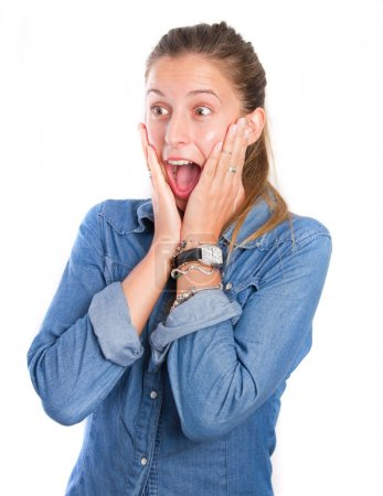 Surprised young girl shouting