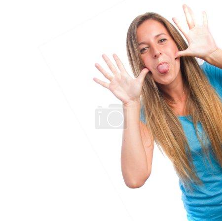 Mocking girl posing