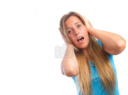 Surprised girl shouting