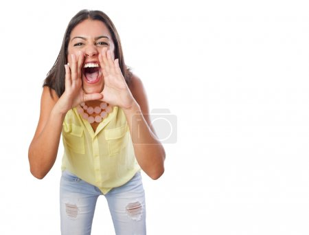 Photo for Pretty woman shouting gesture - Royalty Free Image