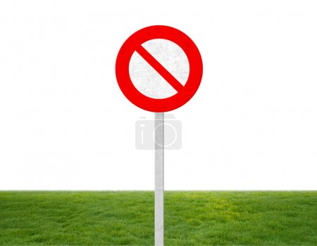 forbidden sign on grass