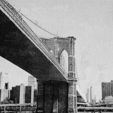 Photo pour New York pont dessiné à la main effet - image libre de droit