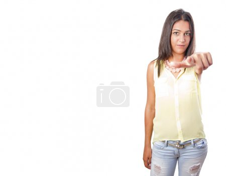 pretty woman pointing gesture
