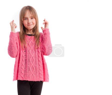 Photo pour Jeune fille doigt croix geste - image libre de droit