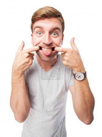 Photo pour Blond homme blague - image libre de droit