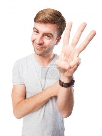 Photo for Blond man hand numbers - Royalty Free Image