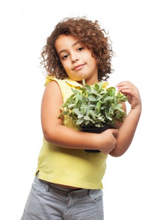black girl with a plant