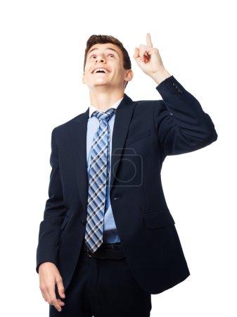 Photo pour Homme d'affaires pointant vers le haut - image libre de droit