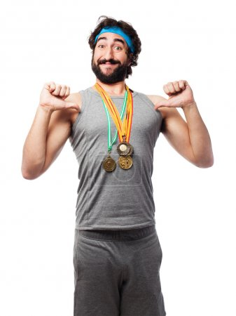 sportsman with medals