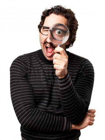 pedantic man with a magnifier surprised