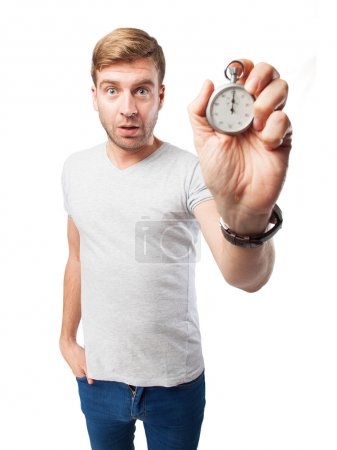 blond man with a stopwatch