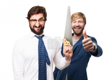 businessman with a saw