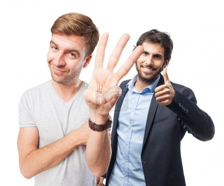 blond man hand numbers