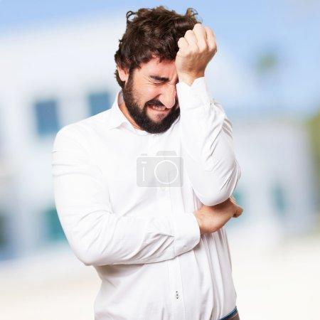 crazy man crying