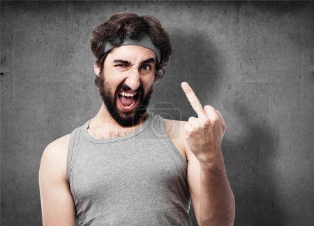 Angry sportsman portrait