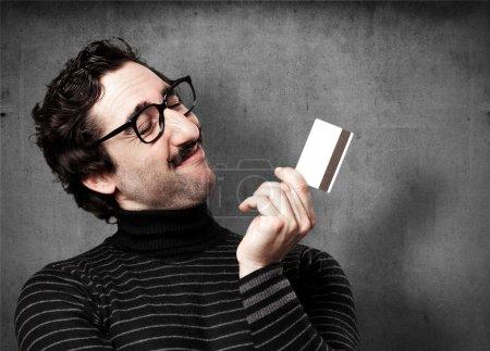 pedantic man with credit card