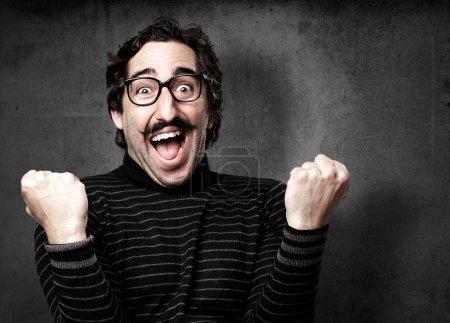 pedantic man celebrating gesture