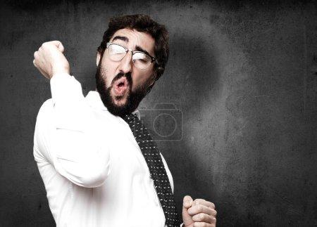 Photo pour Homme d'affaires dansant portrait - image libre de droit