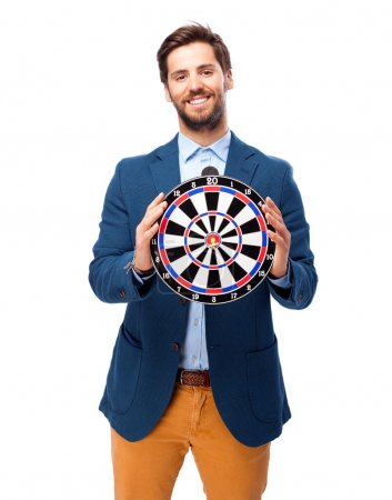 worried businessman with dartboard