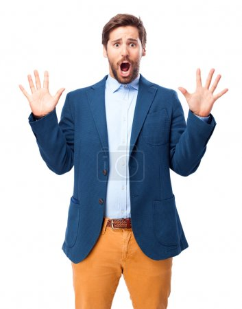 scared businessman frightened pose