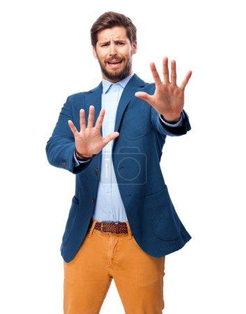 happy businessman stop gesture