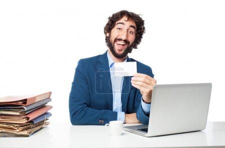 businessman with files and visit card