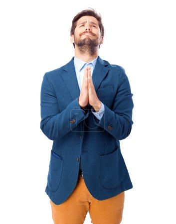 Photo for Sad businessman praying gesture - Royalty Free Image
