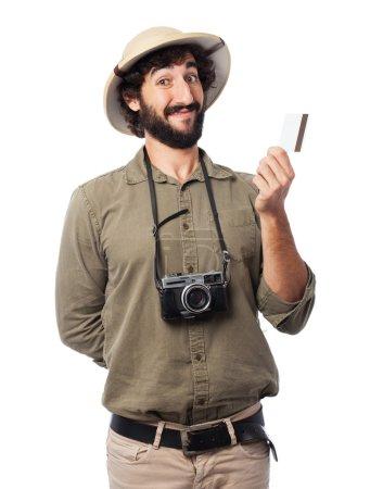 Photo pour Explorateur fou avec carte de crédit - image libre de droit