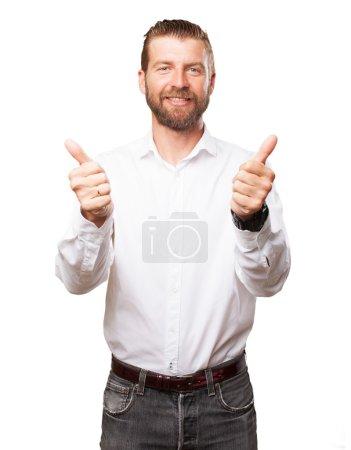 Happy young man okay sign