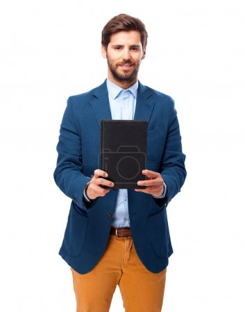 happy businessman with small book