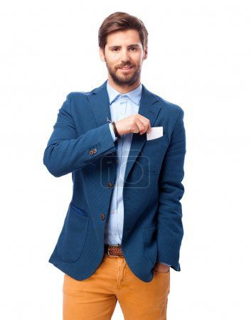 happy businessman with visit card