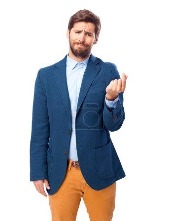 Photo for Sad businessman bills sign - Royalty Free Image