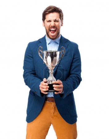 happy businessman with sport cup