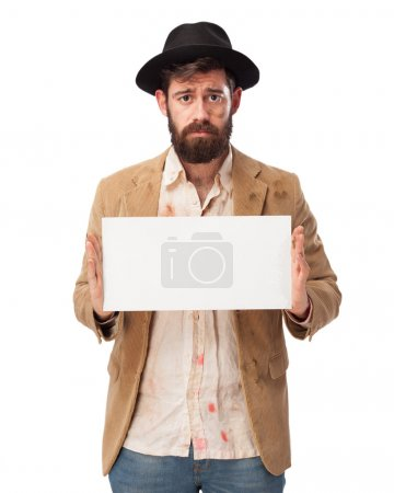 Photo for Sad homeless man with placard - Royalty Free Image