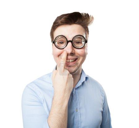 Photo pour Fou jeune homme blague - image libre de droit