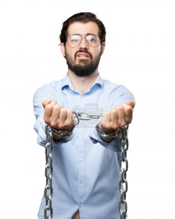 Photo for Sad young man with chain - Royalty Free Image