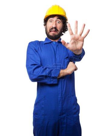 scared worker man stop gesture