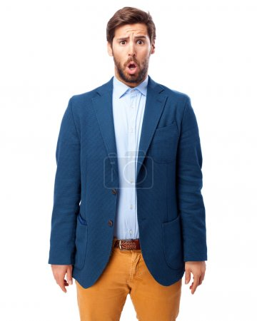 Happy businessman surprised