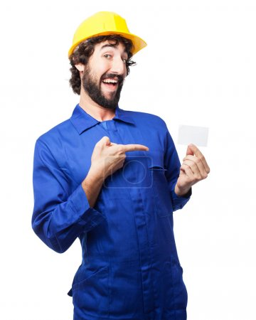 happy worker man with visit card