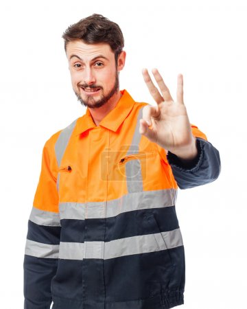 Happy worker man allright sign