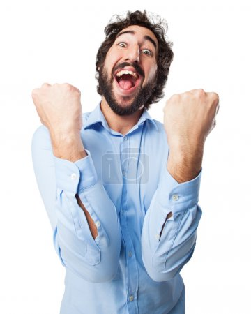 Photo for Happy young man celebrating sign - Royalty Free Image