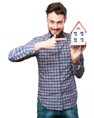happy young man with house